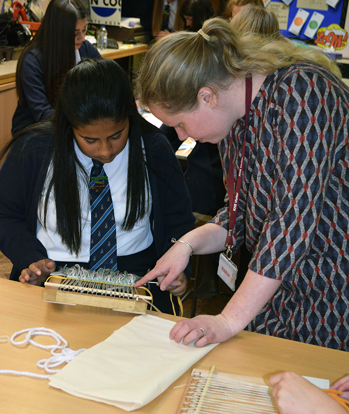 Weaving workshop for Year 9 Textiles pupils
