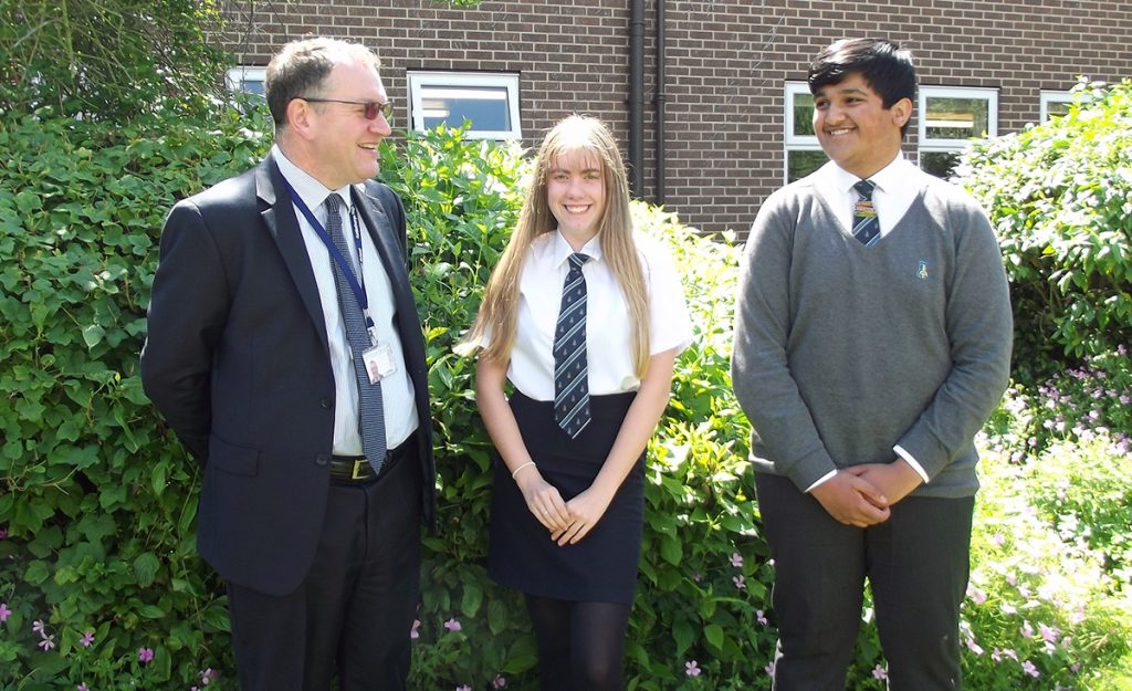 Kettlethorpe High School - Headteacher with the Headboy/Headgirl team 2017-18