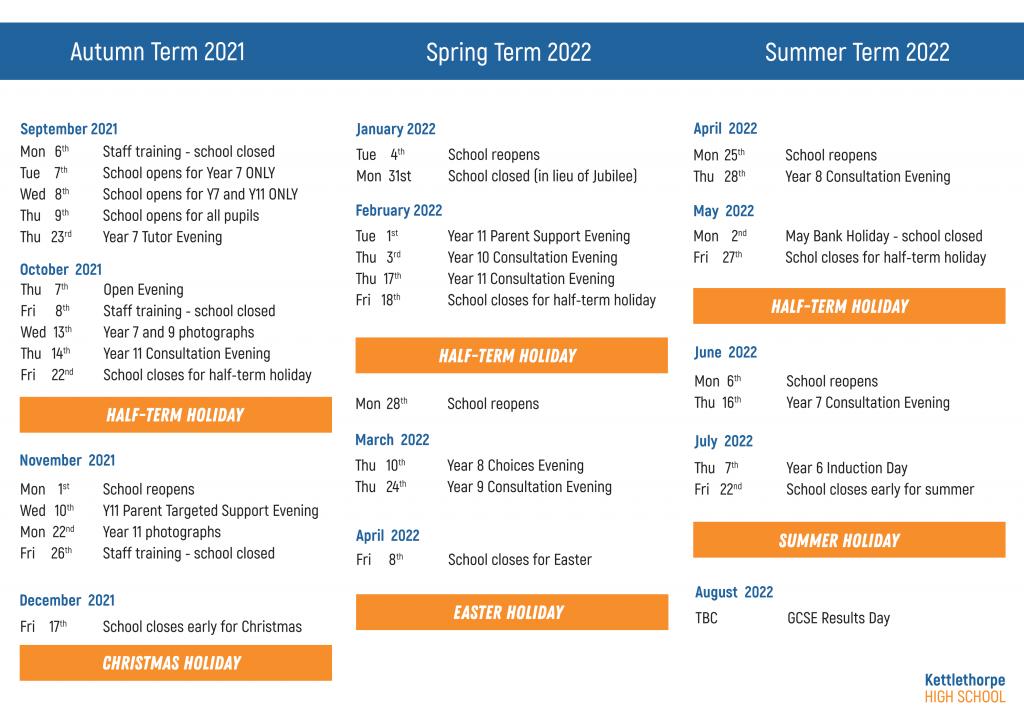 Parent calendar for 2021-22