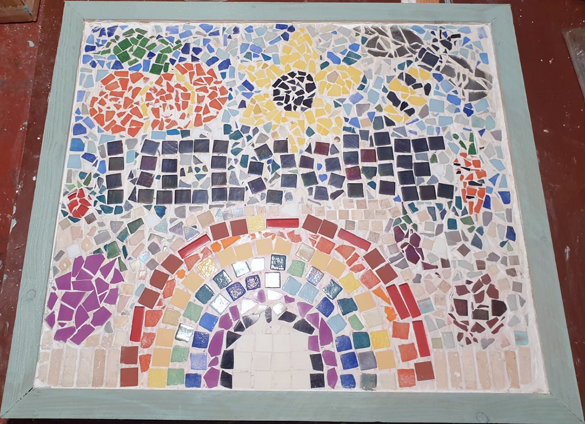 Mosaic for the school allotment made by Crystal in Y8