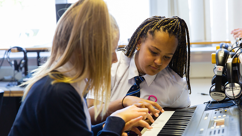 Pupils in a music lesson