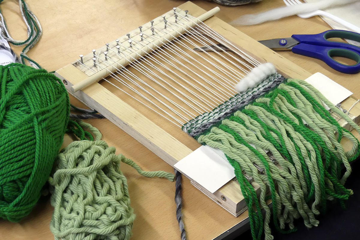 Year 9 Textile Art pupils take part in the weaving workshop